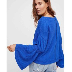 "Free People ""Dahlia Thermal"" electric blue top M"